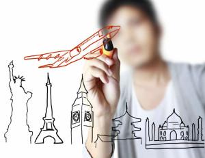Desenhos relacionados à viagem, estudar no exterior