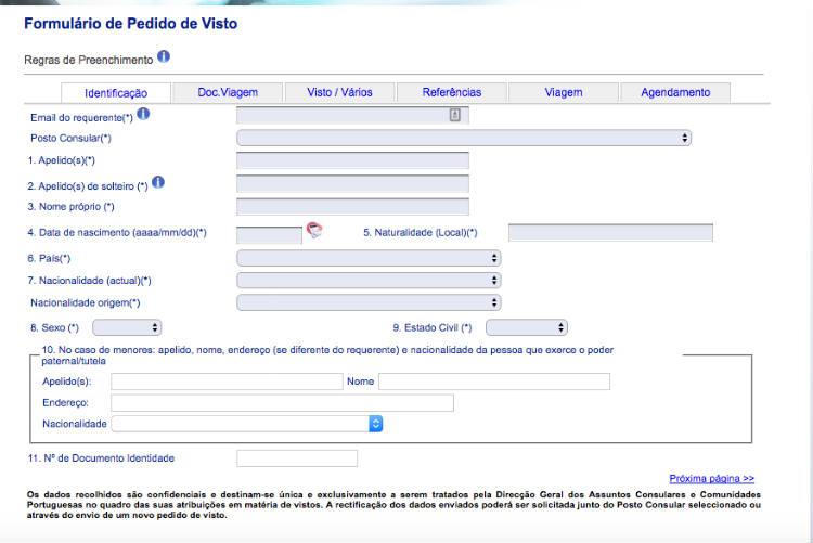 formulario de pedido de visto para Portugal