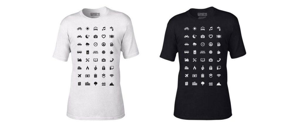 camiseta para turista com ícones