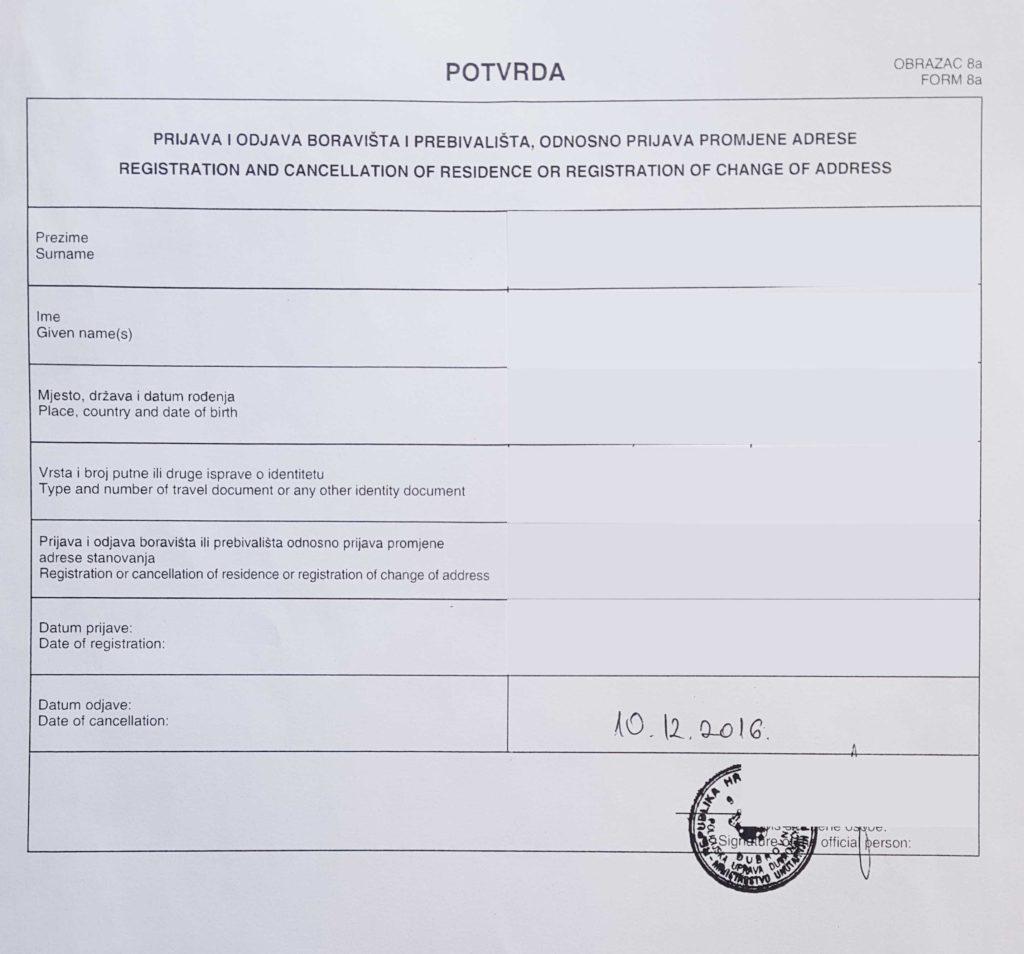 Registro de Residência na Croácia