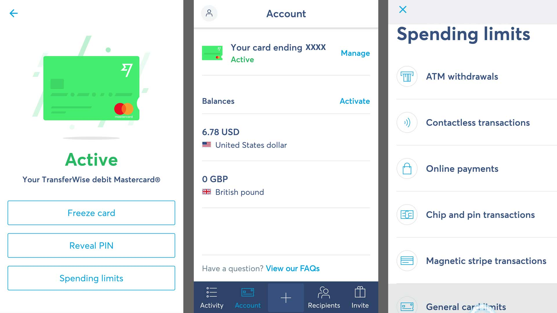 telas do aplicativo da transferwise borderless account