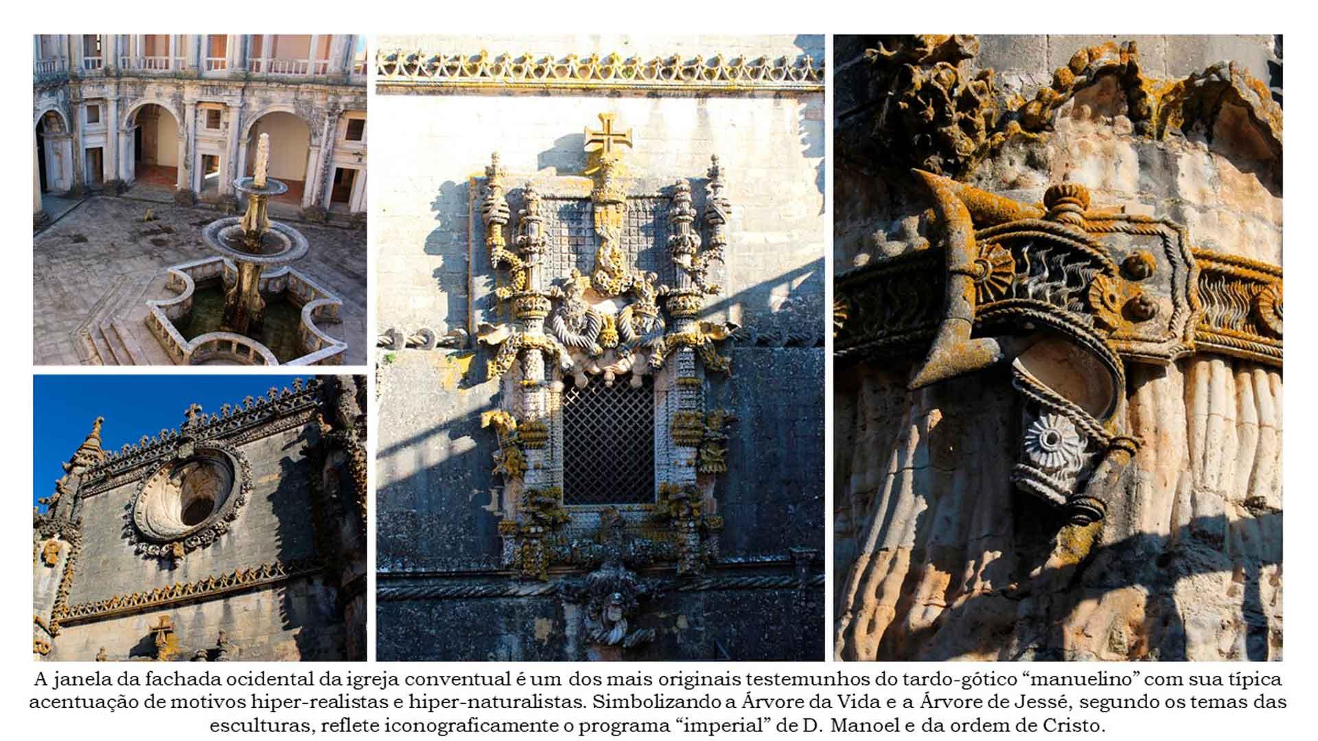 Exterior e detalhes do Convento de Cristo, em Tomar