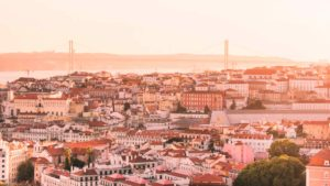 Vista do horizonte de Lisboa, capital de Portugal