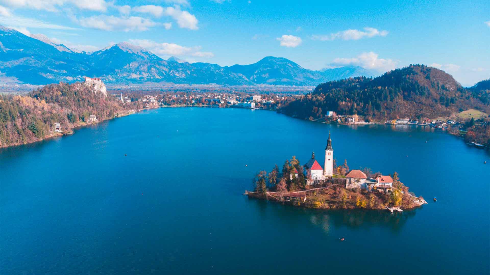 Lago Bled, na Eslovênia, um dos países da Europa