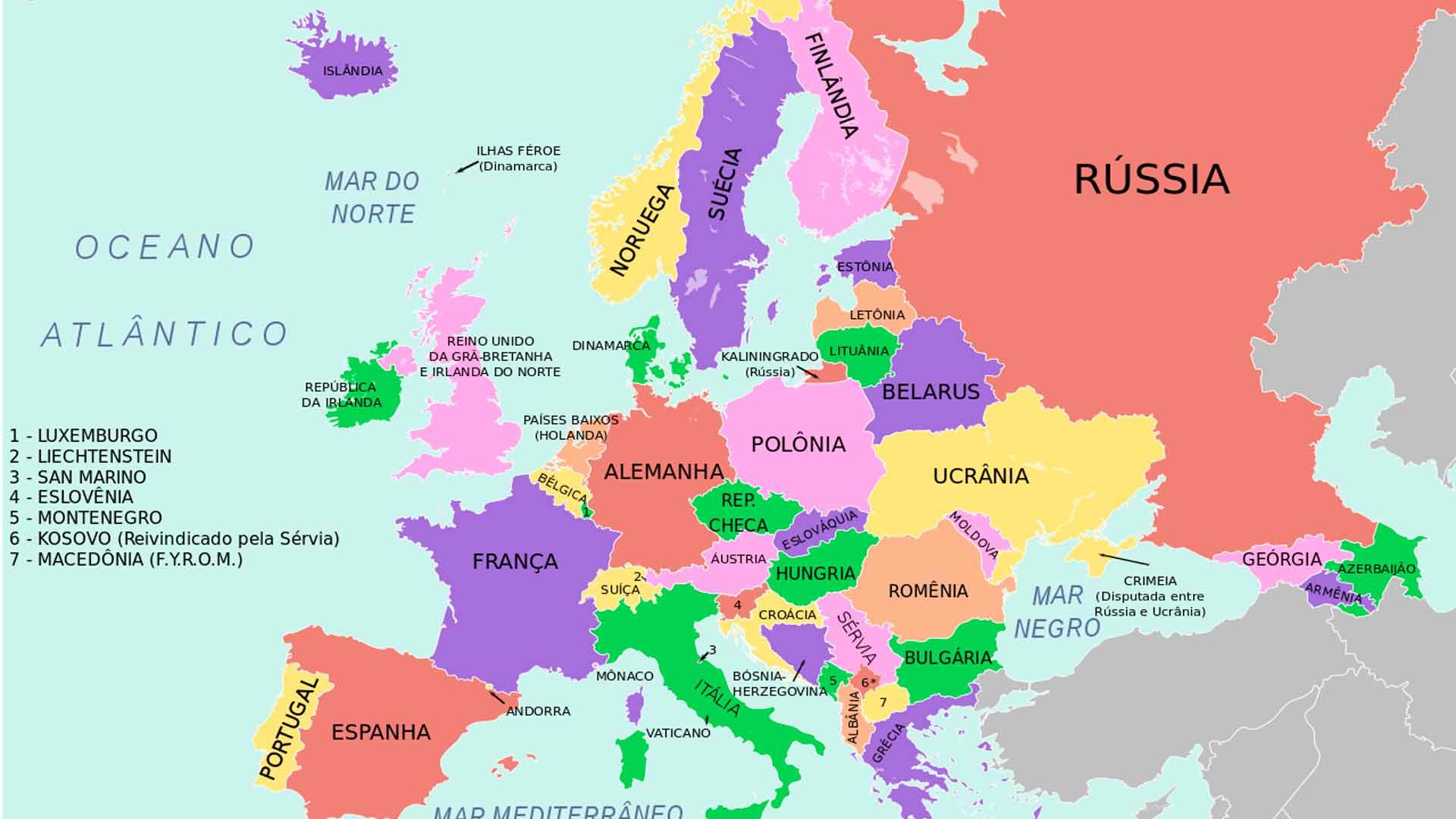 Mapa com todos os países da Europa