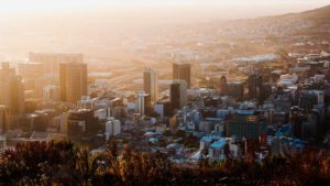 Vista aérea da Cidade do Cabo ao amanhecer