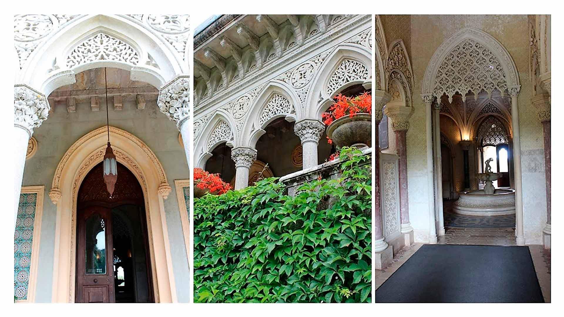 Detalhes da arquitetura do Palácio de Monserrate