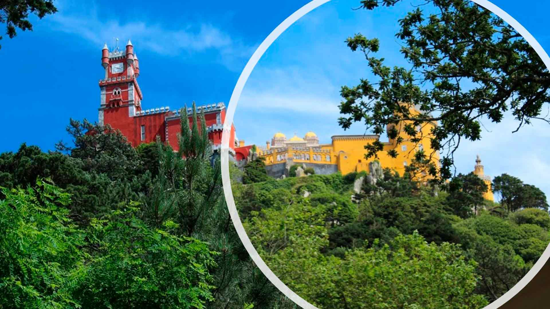 Detalhe das torres do Palácio Nacional da Pena, em Sintra